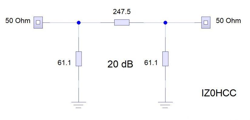 20dB Pad Circuit IZ0HCC