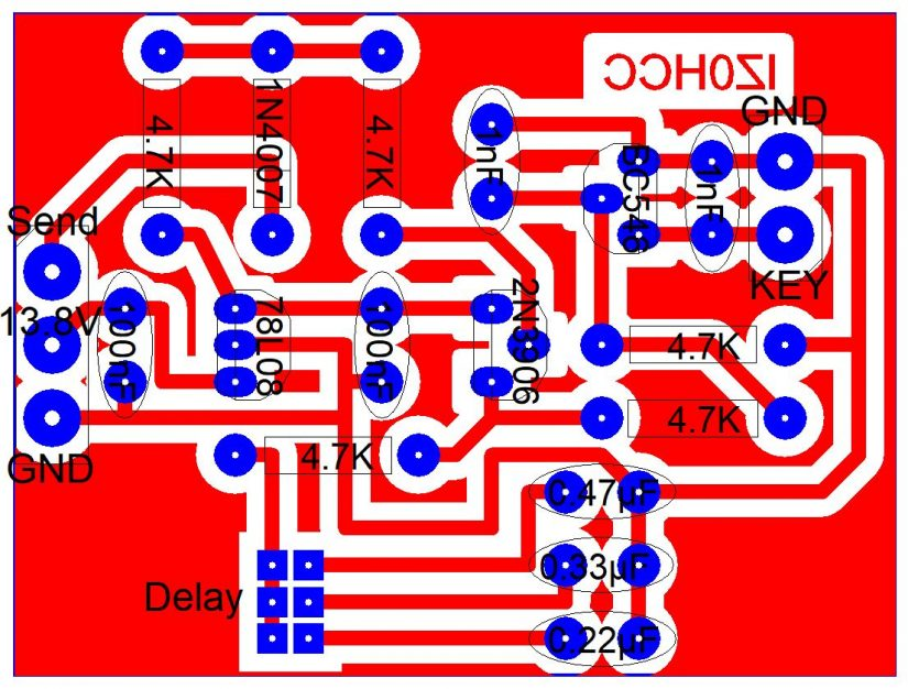 Amplifier Interface With Delay PCB Layout IZ0HCC