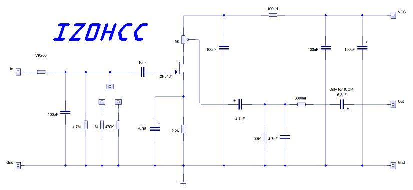 Ceramic SSB Microphone Schematic IZ0HCC