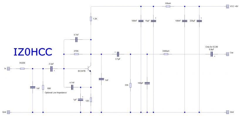 Preamplificatore Microfonico SSB IZ0HCC Schematic